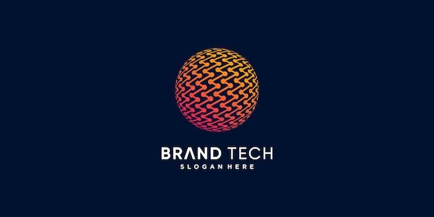 Logo de technologie de globe avec le concept abstrait moderne créatif partie 4