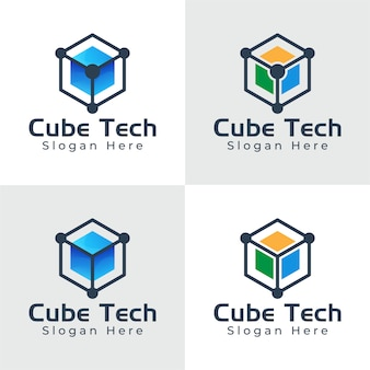 Logo de technologie hexagone boîte cube, logo tech hexagone, collection de logo de boîte numérique
