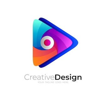 Logo de la technologie et icône de lecture, style 3d