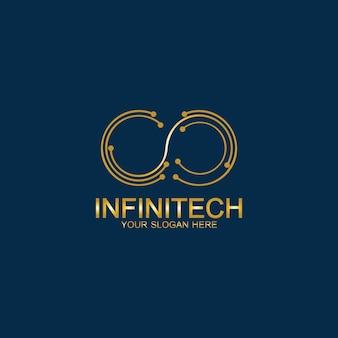 Logo de la technologie de l'infini doré. modèle vectoriel de symboles et d'icônes.
