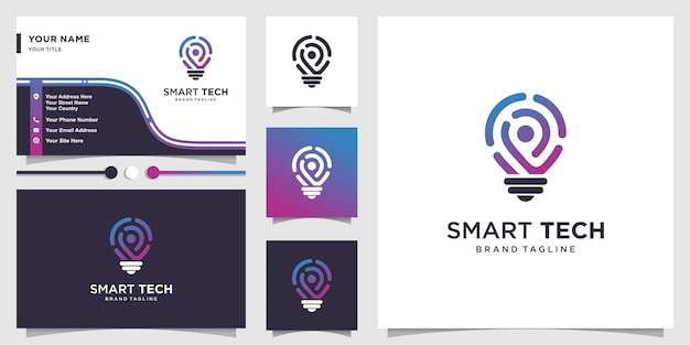Logo de technologie intelligente avec style d'art de ligne dégradé frais et conception de carte de visite