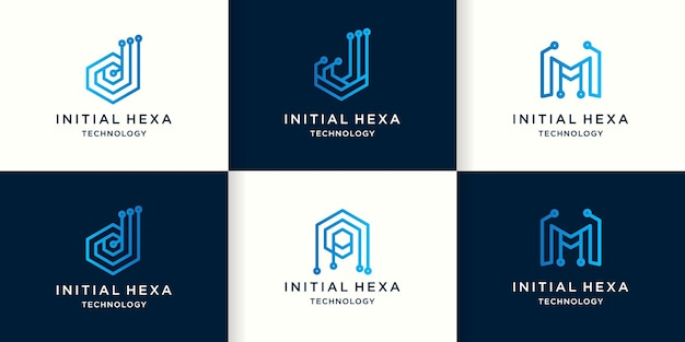 Logo de la technologie lettre djma avec concept de circuit hexagonal