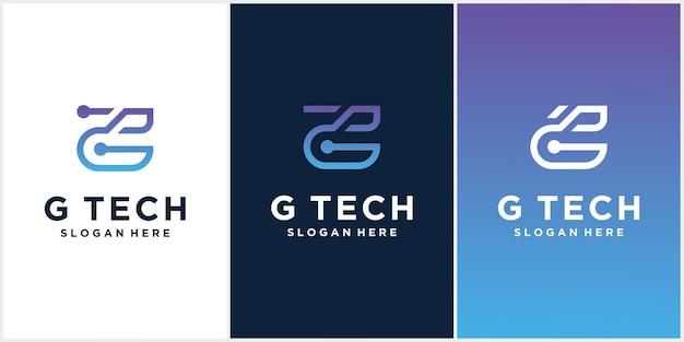 Logo technologie lettre initiale e design logo avec combinaison de couleurs