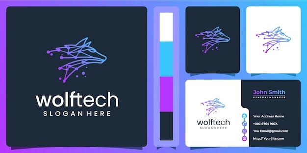 Logo de technologie de loup avec modèle de carte de visite