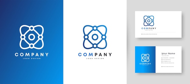 Logo de technologie minimale plate avec modèle de conception de carte de visite premium