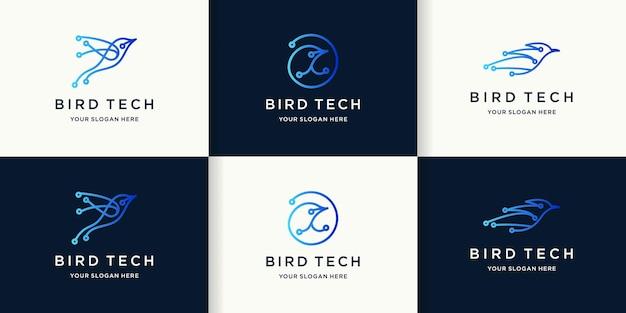 Logo de technologie d'oiseau avec le concept de circuit circulaire