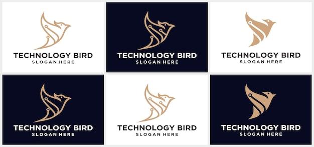 Logo de la technologie des oiseaux vecteur logo de la technologie moderne oiseau conception de logo robot logo de la technologie des oiseaux