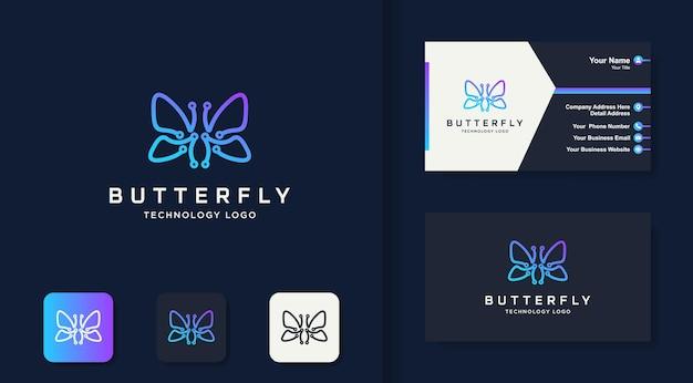 Logo de la technologie papillon avec dessin au trait de circuit et carte de visite