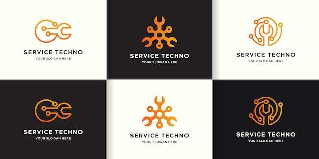 Logo de technologie de service de réparation, circulaire de circuit d'outil