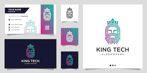 Logo de la technologie avec le style d'art de la ligne de la couronne et du roi et modèle de conception de carte de visite