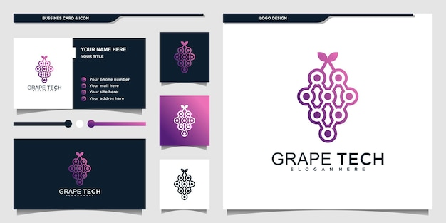 Logo de technologie vinicole moderne avec un style dégradé violet unique et un design de carte de visite premium vekto