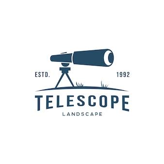 Logo de télescope avec ladscape lane logo silhouette moderne