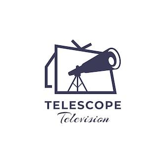 Logo Télescope Moderne Televisio Vecteur Premium
