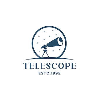 Logo de télescope avec silhouette de logo étoiles moderne