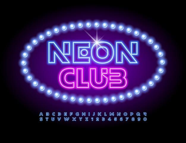 Logo tendance vectoriel neon club avec des lettres et des chiffres de l'alphabet électrique mis en police de lumière vive