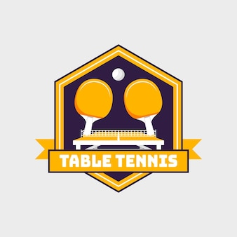 Logo de tennis de table de style détaillé