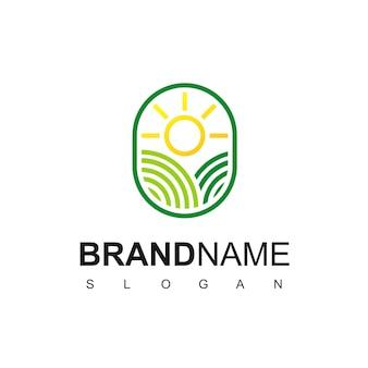 Logo de terres agricoles avec symbole de ligne