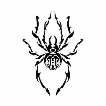 Logo tête araignée tribal conception tatouage pochoir illustration vectorielle