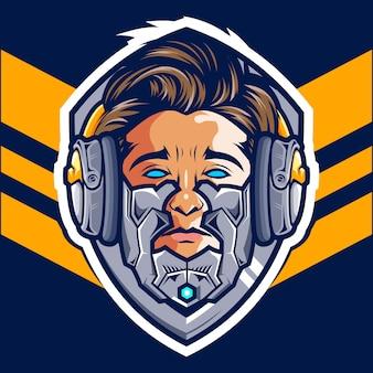 Logo de la tête cyborg gamer esport