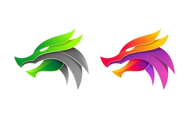 Logo tête de dragon de couleur moderne