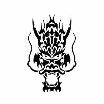 Logo tête dragon tribal conception tatouage pochoir illustration vectorielle