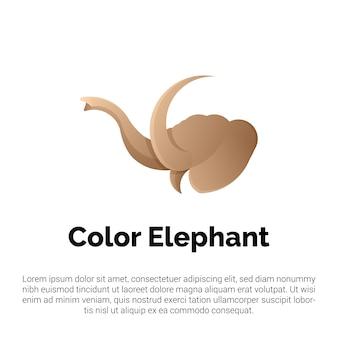 Logo tête d'éléphant coloré, modèle