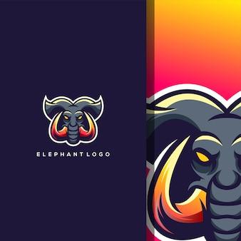 Logo tête d'éléphant avec gratuit