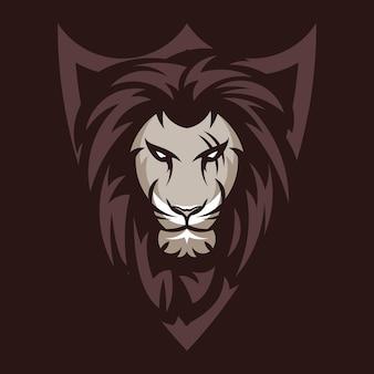 Logo de tête de lion animal mascotte vector illustration