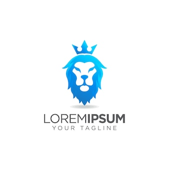 Logo tête de lion bleu