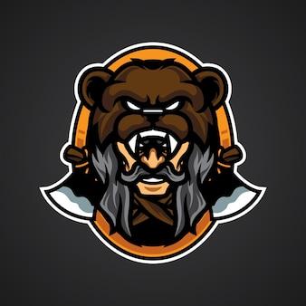 Logo de tête d'ours vieil homme