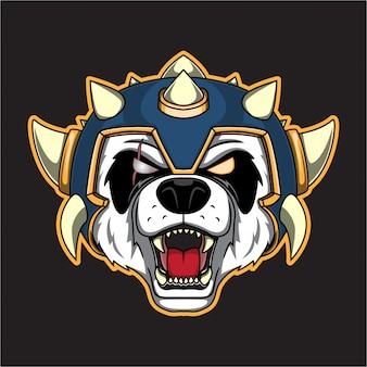 Logo tête de panda de guerre