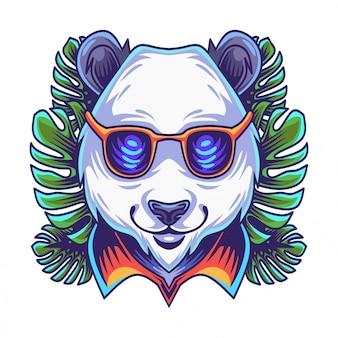 Logo tête de panda avec verres