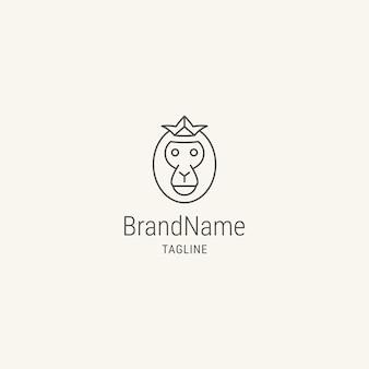 Logo de tête de singe avec modèle de logo de style plat