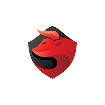 Logo tête de taureau et bouclier
