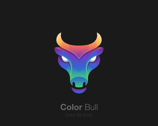 Logo tête de taureau coloré