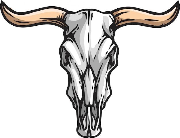 Logo tête de taureau crâne