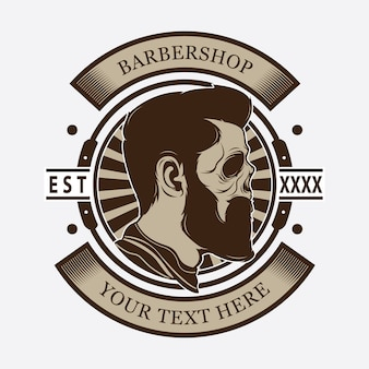 Logo tête de tête de coiffeur