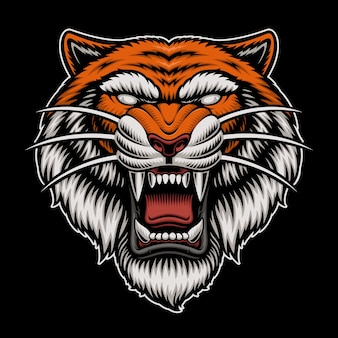 Logo tête de tigre isolé sur noir