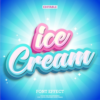 Logo de texte de crème glacée et conception de tittle avec fond bleu propre