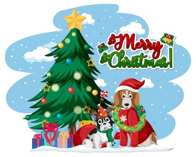 Logo de texte joyeux noël avec arbre de noël et chiens mignons