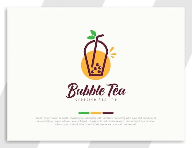 Logo de thé à bulles frais avec des feuilles