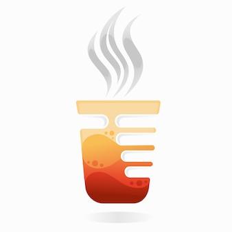 Logo de thé chaud avec concept de main