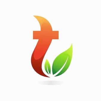 Logo de thé avec le concept de la lettre t