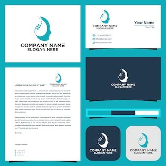 Logo de thérapie cérébrale logo et carte de visite