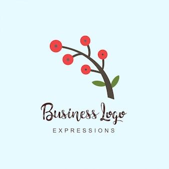 Logo de la tige de la plante avec la typographie et le vecteur de fond clair
