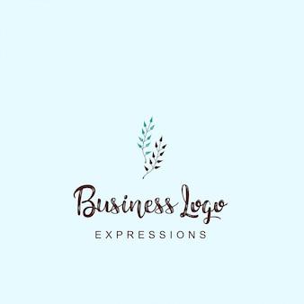 Logo de tige de plante avec la typographie et vecteur de fond clair