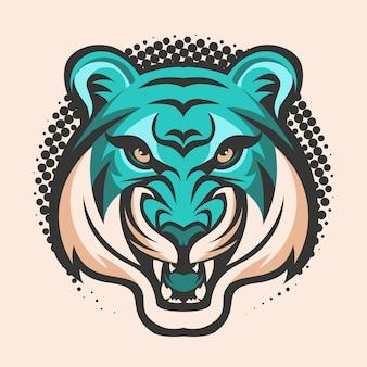 Logo de tigre animal mascotte tête vector illustration