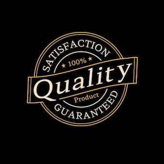 Logo de timbre de produit de qualité garantie pour la vente en ligne vecteur premium