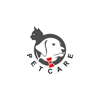 Logo de toilettage simple cercle tête de chien et chat