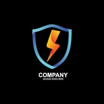 Logo de tonnerre et bouclier